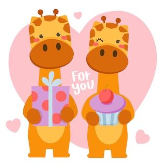 Couple of romantic giraffes celebrating saint valentine with big gift box