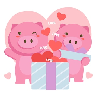 Couple of romantic pigs celebrating saint valentine with big gift box