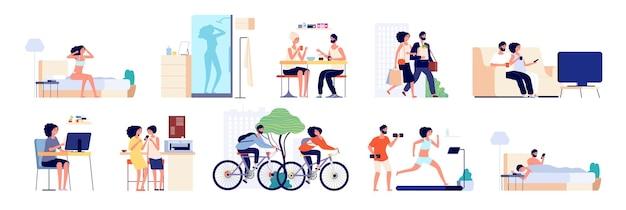 커플 루틴. 사람들은 집, 일상적인 돌보는 삶을 청소합니다.