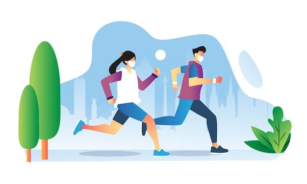 街の通りでカップルがフェイスマスクで走る