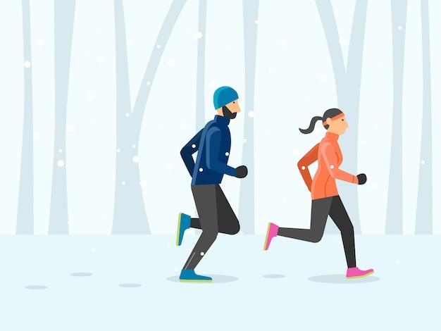 Couple runner running outdoor scene