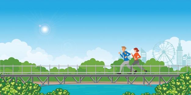 Couple running on bridge on green natural landscape background.