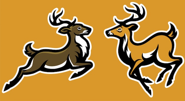 Couple running deer mascot
