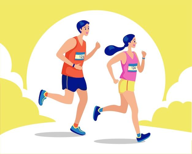 カップルランニング、健康志向のコンセプト。スポーティな女性と男性のジョギング。ランナーのイラスト