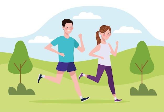 キャンプで走っているカップルのキャラクター健康的なライフスタイルのイラスト
