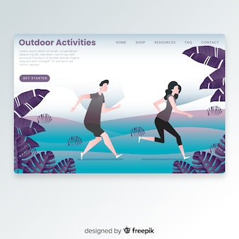 Couple running landing page