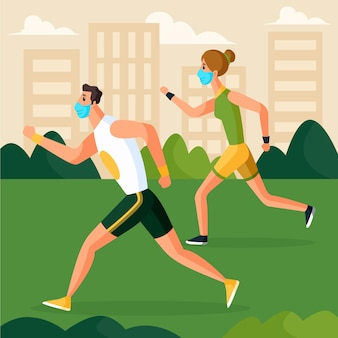 Couple running in the park wearing medical masks