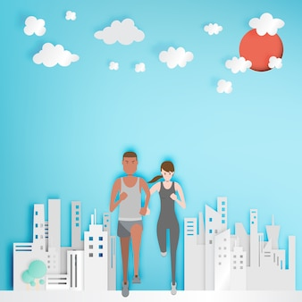 Couple running with paper city