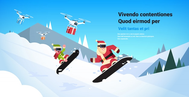 Couple santa claus with elf doing jump on snowboard