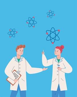 Пара ученых с буфером обмена и вакциной для исследования молекулы атомов