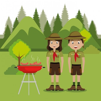 Couple scouts in the camping zone scene