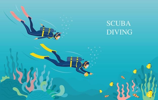 커플 스쿠버 다이빙 수중