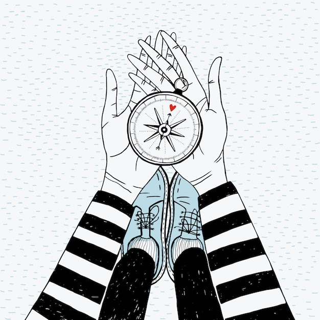 Couple searching concept. girl with love compass. cute hand drawn illustration.