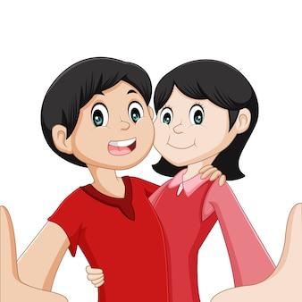 Couple selfie cartoon