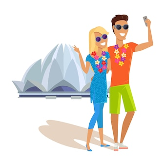 Couple selfie on summer vacation in india
