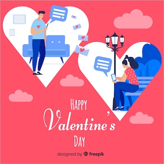 Couple sending messages valentine background