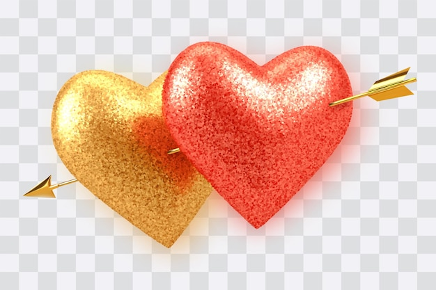 Couple shining realistic red and gold heart shaped balloons with glitter texture pierced by cupids golden arrow isolated on transparent