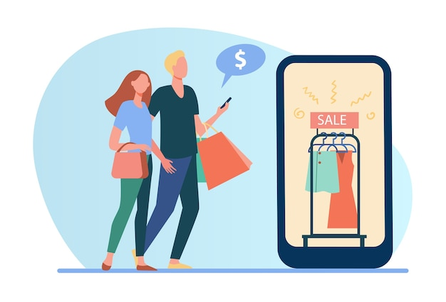 Couple shopping online. sale in fashion store, ad on cellphone screen flat illustration.
