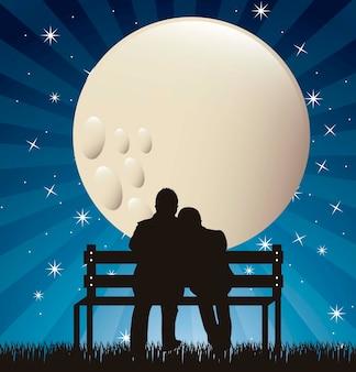 月のベクトル図と夜のカップルのシルエット