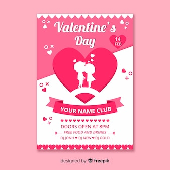 Couple silhouette valentine's day party poster
