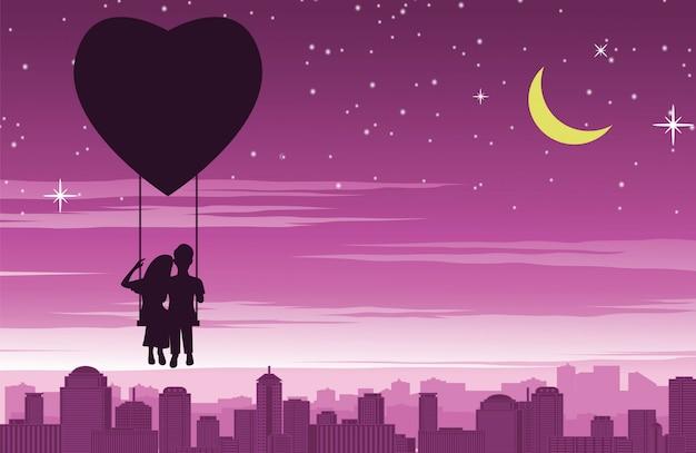 Пара сидит на качелях, которые плавают в форме сердца на воздушном шаре над городом