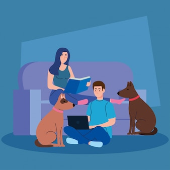 Пара, сидя в диване, женщина читает книгу, мужчина, используя ноутбук, с собакой талисман