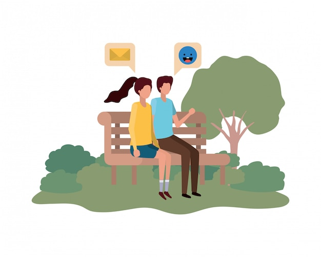 Пары сидя на стуле парка с пузырями речи