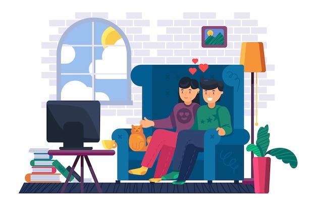 ソファに座っているカップルは自宅でテレビを見ます。映画やテレビ番組を一緒に見ている若い男性と女性。国内のライフスタイルと家にいるコンセプト。漫画イラスト