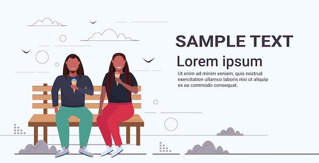 アイスクリームを食べて木のベンチに座っているカップル太りすぎの男性女性が楽しんで不健康な栄養肥満の概念全長水平