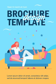 Couple sitting on sofa and using smartphones flyer template
