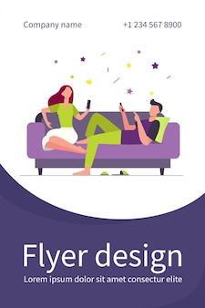 Couple sitting on sofa and using smartphones. relaxing, couch, family flat illustration. flyer template