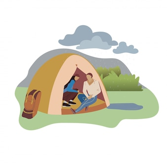 Couple sitting in tent flat vector illustration