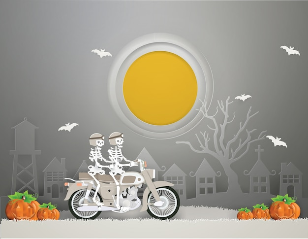 Couple skeleton riding old motorcycle go to halloween party