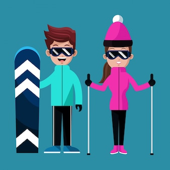 Couple skiing clothes glasses snowboard