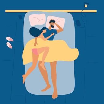 カップルは一緒に寝ます。上面図。眠っているポーズ。ベッド、快適なマットレス、枕で健康的な睡眠。ベクトルイラスト。
