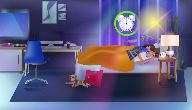Пара, спящая в постели с будильником, современный интерьер спальни, горизонтальная полная длина
