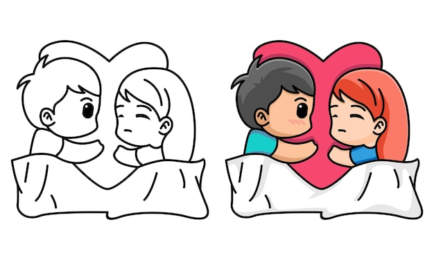 Couple sleeping with a pillow heart shaped happy valentine coloring page for kids