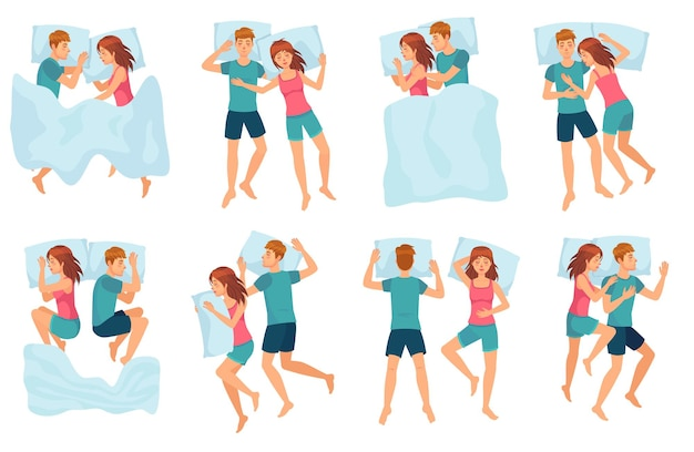 Couple sleeps in different poses. man and woman sleeping together, couple in bed and healthy night sleep vector set. cute boy and girl slumbering. male and female cartoon characters falling asleep.