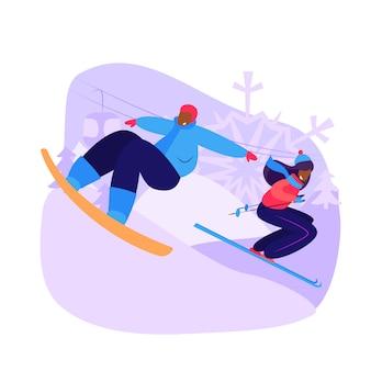 Пара катается на сноуборде и катается на горных лыжах