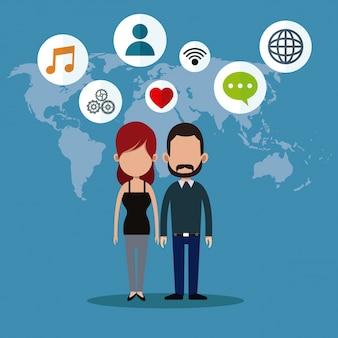 カップルソーシャルメディアの世界のアイコン