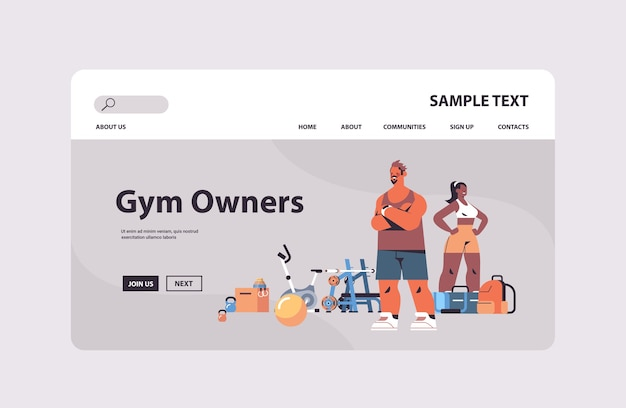 Couple in sportswear with different gym tools standing together mix race man woman personal fitness trainers team healthy lifestyle concept   copy space