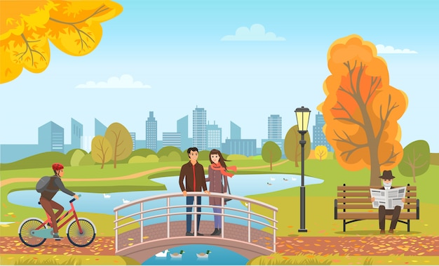 Couple standing on bridge biker and man vector