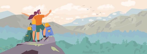 아름다운 풍경 가로 배너를 관찰하는 산 꼭대기에 서 있는 커플. 남자와 여자 하이킹 벡터 일러스트 레이 션.