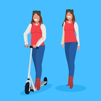 Couple standing together with electric scooter in winter clothing
