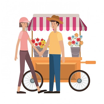 Couple in store kiosk with flowers avatar character
