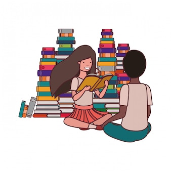 Couple of student with reading book in the hands