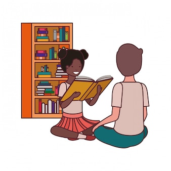 Couple of student with reading book