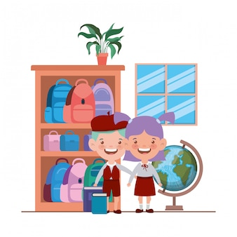Couple of students with school suppliesin the classroom