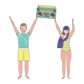 Couple in swimsuit holding stereo boombox radio