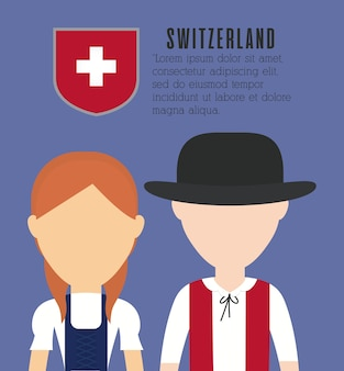 Couple of swiss people icon